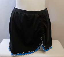 Buy SIZE 20 Women Ruffled Swim Skirt SWIM365 Solid Black Attached Brief Ruched Side