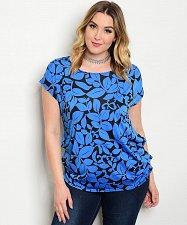 Buy PLUS SIZE 1XL 2XL 3XL Women Knit Top Blue Floral MOA Scoop Neck Puckered Sides