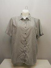 Buy PLUS SIZE 2X Women Button Down Shirt BOCA BAY Striped Collar Neck Short Sleeves