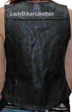 Buy Ladies Biker SOFT Black PREMIUM Leather MOTORCYCLE Vest ORANGE LINER or LACES