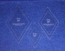 "Buy Laser Cut Quilt Templates- 3 Piece Diamond 2"" 3"" 4"" Clear Acrylic 1/8"" 60 Deg"