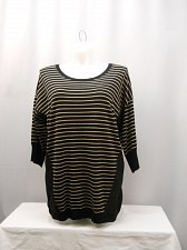 Buy Womens Sweater Thin Knit PLUS SIZE 1X Black Striped Quarter Sleeves Scoop Neck