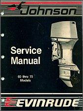Buy Evinrude / Johnson 60 65 70 75 HP Models Outboard Motors Service Manual on a CD