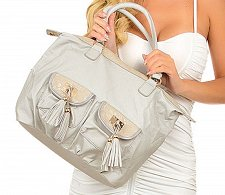 Buy PURSE BAG Gray HANDBAG Embellished with Tassel Pockets Gold Trim Faux Leather