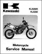 Buy Kawasaki KLX250 / KLX250R / KLX300R Service Manual on a CD