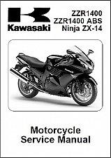 Buy 2008-2009-2020-2011 Kawasaki Ninja 1400 ( ZX-14 ZZR1400 ABS ) Service Manual CD