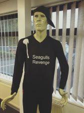 Buy Falconry Long Sleeve Tee Shirt with Bird Poo Splatter. 'Seagulls Revenge' medium