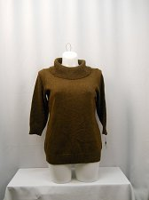 Buy Womens Sweater CHARTER CLUB Plus Size 0X Brown Metallic 3/4 Sleeves Cowl Neck