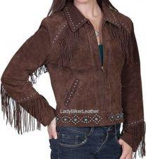 Buy LADIES Black Brown OR Rust SUEDE Leather WESTERN Fringe Jacket TURQUOISE STUDS