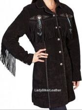 Buy Ladies BEADED Black SUEDE Leather WESTERN FRINGE 3/4 Length COAT Jacket CONCHOS