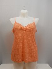 Buy SIZE XL Womens Camisole Top GEORGE Orange Polka Dot Spaghetti Straps Lace Trim
