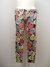 Buy Women Leggings PLUS SIZE 1X SKULLS Multi Colored Print Skinny Legs Inseam 29