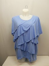 Buy PLUS SIZE 3X Women Tiered Knit Top SARA MORGAN Solid Blue Short Sleeve Scoop Nec
