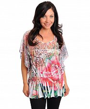 Buy PLUS SIZE 1X 2X Womens Top MEL MO Floral Ivory Pink Lace Scoop Neck Lace Sleeves