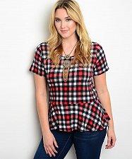 Buy Women Peplum Top Size 2XL-3XL Zenobia Plaid Multi Color Short Sleeves Scoop Neck