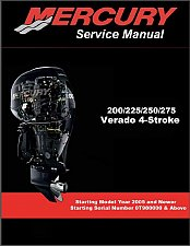 Buy Mercury 200 225 250 275 Verado 4-Stroke Outboard Motors Service Manual on a CD