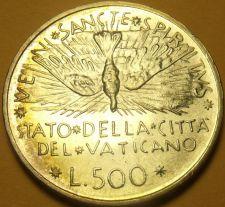 Buy Gem Unc Silver Vatican 1978 500 Lire~Dove~Cardinal Jean Villot~Semi Toned~Fr/Shi