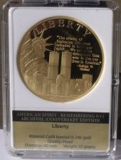Buy Remembering 9/11 24k Gold Plated Proof 40mm Medallion~The American Spirit