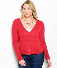 Buy Womens V-Neck Cardigan Long Sleeve KATIA Button Solid Red Size 1XL-2XL 2XL-3XL