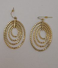 Buy Women Fashion Drop Dangle 4 Hoop Earrings Gold Tones Hook Fasteners SZ BIJOUX
