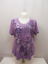 Buy PLUS SIZE 2X Women Knit Top Purple JMS Animal Print Scoop Neck Short Sleeves