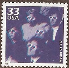 Buy USA 1999 Celebrate the Century 1950s - Go to Movies 3-D Anaglyph Stamp