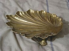 Buy SEA SHELL Brass Display Tray or Soap Dish Tray Used