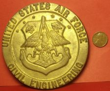 Buy Massive 105mm X 9mm Thick Solid Brass U.S. Air Force Civil Engineering Palque~FS