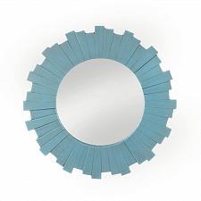 Buy *18112U - Blue Sunburst Wood Frame Round Wall Mirror