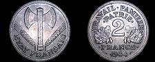Buy 1944 French 2 Franc World Coin - German Occupied France