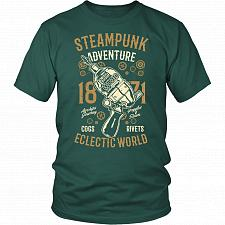 Buy Steampunk Adventure Adult Unisex T-Shirt Pop Culture Graphic Tee (Dark Green/District