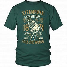 Buy Steampunk Adventure Adult Unisex T-Shirt Pop Culture Graphic Tee (Dark Green/District