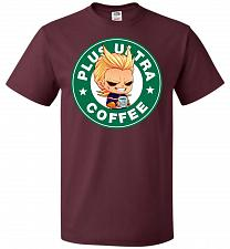 Buy Plus Ultra Coffee Unisex T-Shirt Pop Culture Graphic Tee (4XL/Maroon) Humor Funny Ner