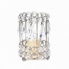 """Buy *18137U - Crystal Drop 5 1/4"""" Silver Iron Pillar Candleholder"""