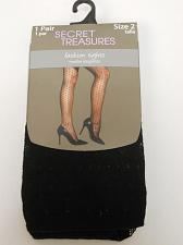Buy Women Tights PLUS SIZE 2 Solid Black SECRET TREASURES No Bind Waistband ST7CL