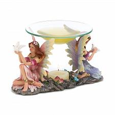 Buy 14696U - Two Fairies Holding Birds Oil Warmer Glass Dish