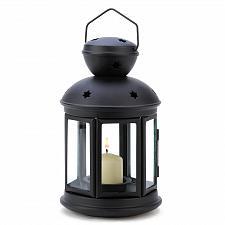 Buy 14123U - Black Colonial Star Cutout Iron Candle Lamp Glass Panels