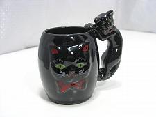 Buy Black Cat Redware Coffee Mug Vintage with 3D Sculptured Figural Cat Handle