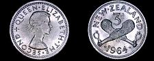 Buy 1964 New Zealand 3 Pence World Coin - Elizabeth II - Lot#9935