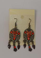 Buy Women Earrings Drop Dangle Red Rhinestones Brassy Gold Tones Hook Fasteners