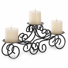 Buy 14198U - Tuscan Style Black Metal Scroll Candle Holder Centerpiece