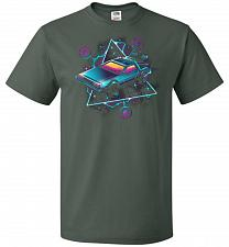 Buy Retro Wave Time Machine Unisex T-Shirt Pop Culture Graphic Tee (2XL/Forest Green) Hum