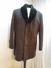 Buy c178 Vintage Men's Brown Wool Blend Faux Shearling lined Car Coat Pea Coat 40