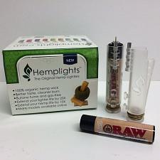 Buy CLEAR HEMPLIGHT™ OG HEMP WICK DISPENSER LIGHTER CASE with RAW™ CLIPPER™ LIGHTER