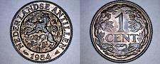 Buy 1954 Netherlands Antilles 1 Cent World Coin - Juliana