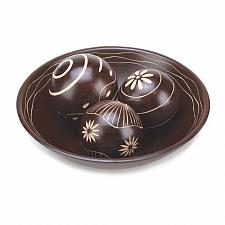 Buy *15352U - Brown Decorative Wood Accent Balls & Tray Set