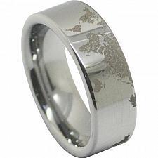 Buy coi Jewelry Platinum White Titanium Map Wedding Band Ring