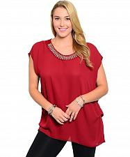 Buy Women Sheer Top PLUS SIZE 1X 2X LIBIAN Red Beaded Scoop Neck Sleeveless Puckered