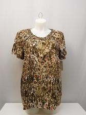 Buy Tunic Top Womens SIZE XL WHITE STAG Brown Animal Macrame Scoop Neck Pullover