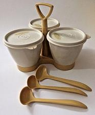 Buy Vintage Tupperware Condiment Set Harvest Gold Caddy Spoons Bowls Lids Complete